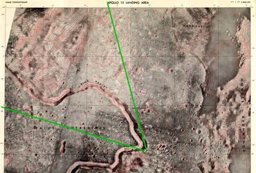 Топографическая карта места посадки Аполлон 15