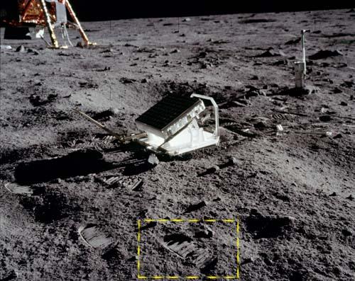 Следа База Элдрина на Луне